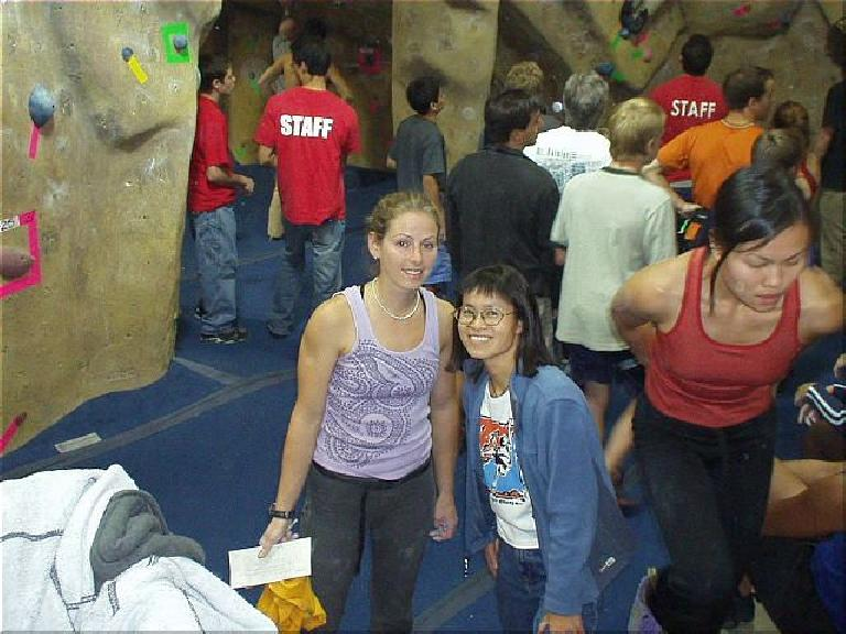 "Here's a nice pic of Corinne and Stacey together in the bouldering area.  Unfortunately Sharon and I could not stay for the ""Dyno for Dollars"" event that was to follow, but I hope it went well!"