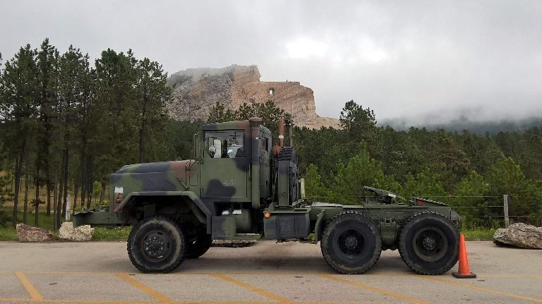 camouflaged Army semi-trailer, Crazy Horse Memorial