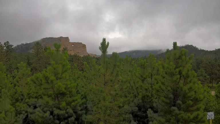 pine trees, Crazy Horse Memorial, grey clouds