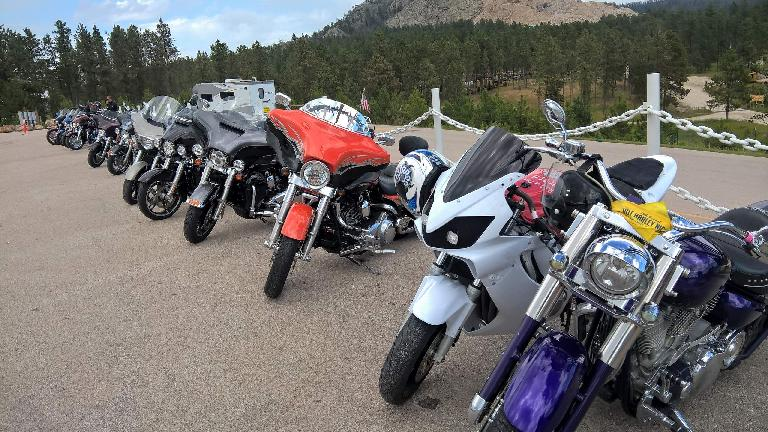 Motorcycles at Crazy Horse Memorial.