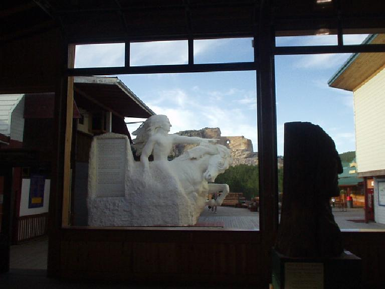 Another view of the Crazy Horse mockup and mountain carving.