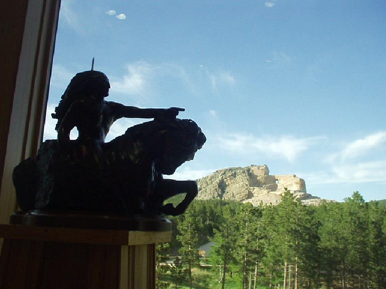 """My lands are where my dead lie buried"" said Crazy Horse.  The rock sculpture will  look like the reduced scale model shown here when it is completed."
