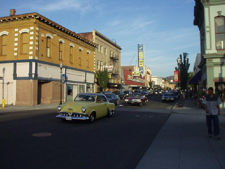 This Friday night in August was Cruise the Gorge, where classic cars were encouraged to cruise the downtown streets of The Dalles, Oregon.  There were mainly post-WW II cars here.