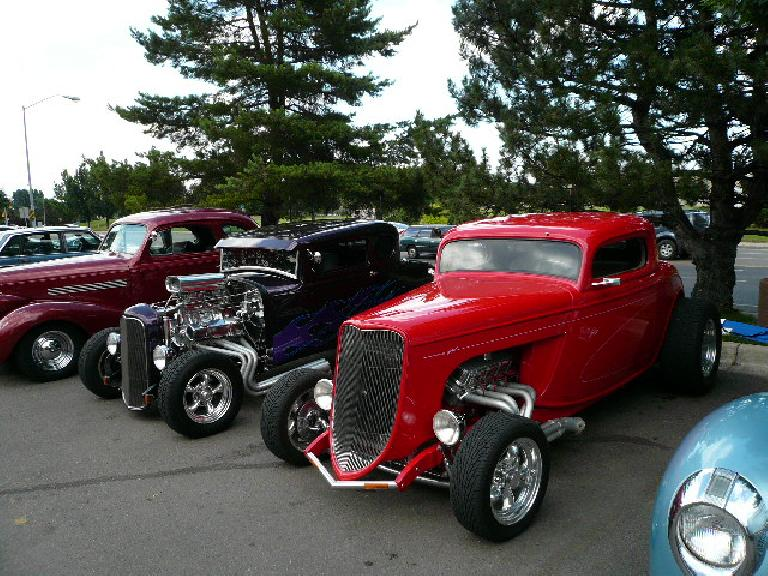 When I went grocery shopping at the Sunflower Market, I was surprised to see a bunch of hot rods in the parking lot.