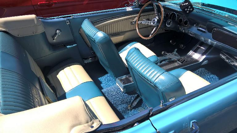 The interior of the 1966 Columbine blue High Country Special Ford Mustang convertible looked like it had more room than a contemporary Mustang convertible despite being smaller on the outside.