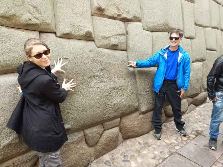 Teresa and Mel by the Twelve Angle Stone in Cusco.