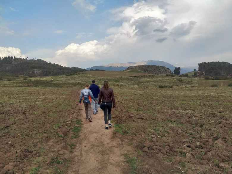 Walking towards the Templo de la Luna (Temple of the Moon) in Cusco.