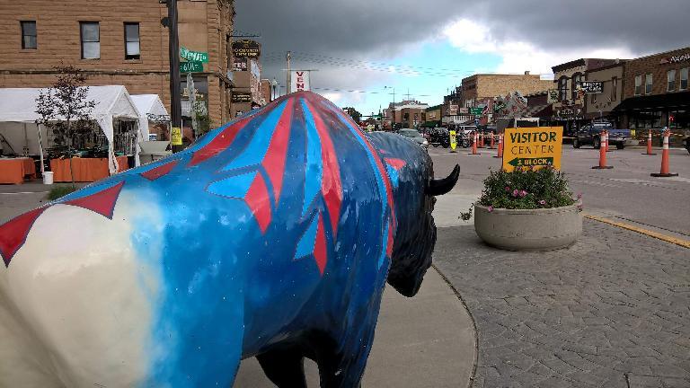 Blue and red bull in Custer, South Dakota.