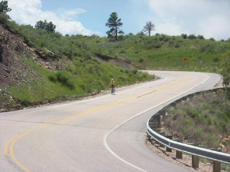 A couple days later, a world traveler Paul was visiting and we did a hilly bike ride.  Here's Paul coming down Centennial Rd.