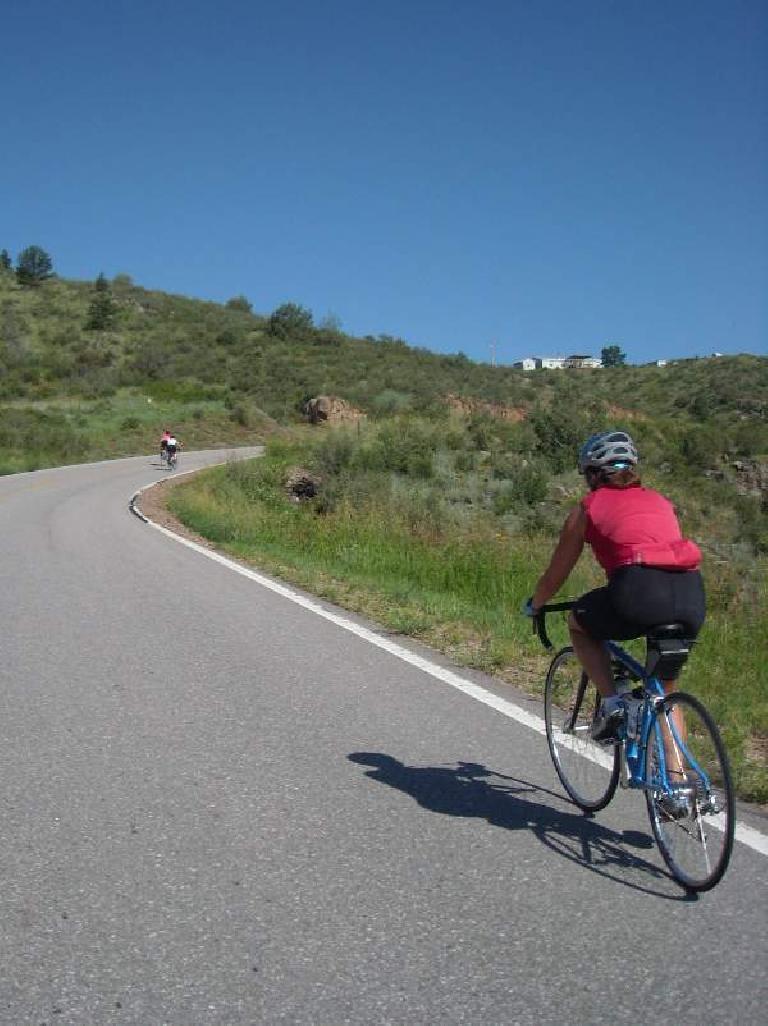Raquel on a long climb up to Rist Canyon.