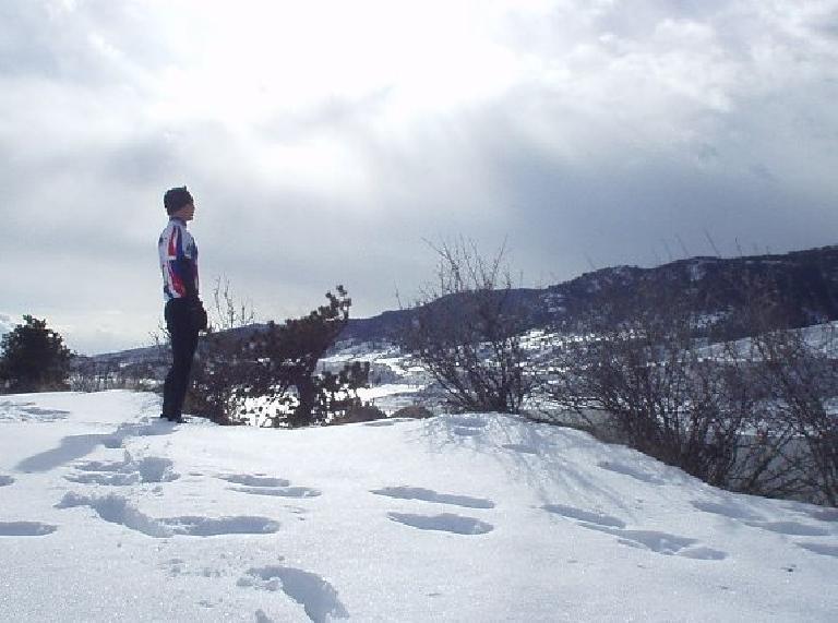 Felix Wong overlooking the Horsetooth Reservoir.