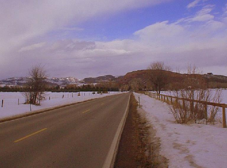 The red bluffs overlooking Bingham Hill.