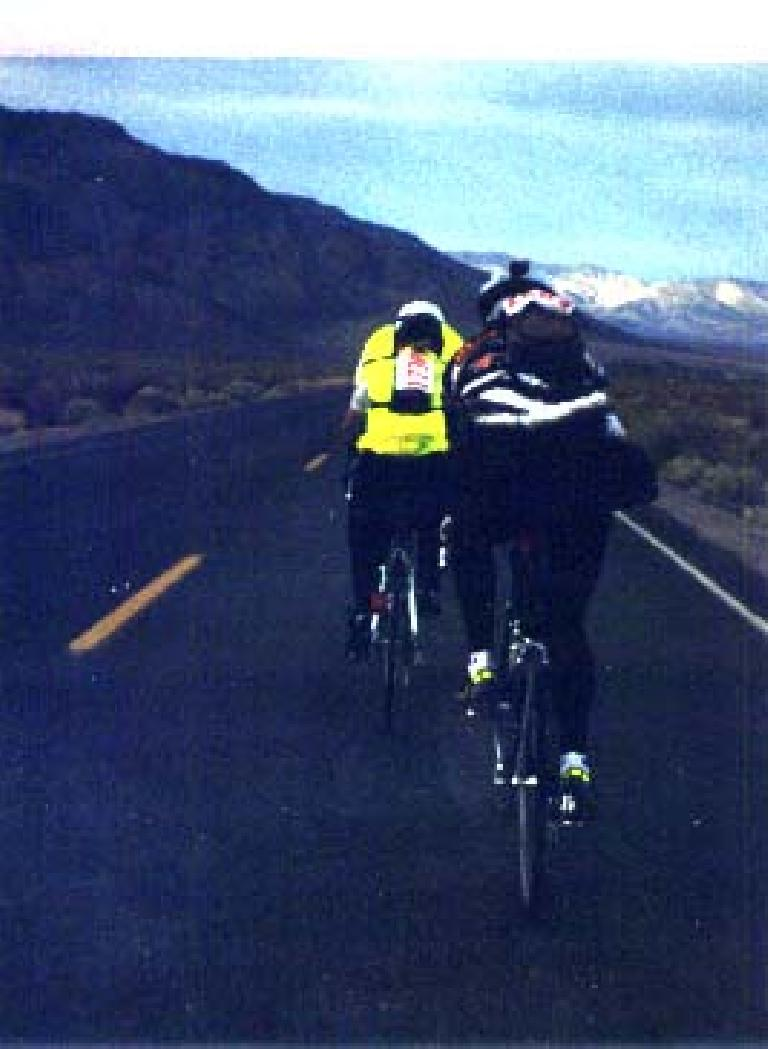 Behind two riders in Death Valley.