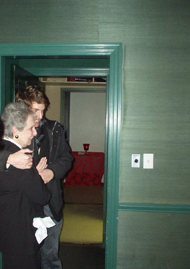 In a private room at Parizade, we waited for Dan.  He was certainly surprised!  Here he is with Nanna.