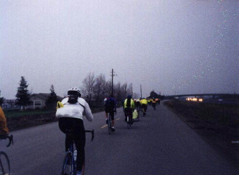 Catching up to the pack of cyclists in the 1999 Davis 200k Brevet.