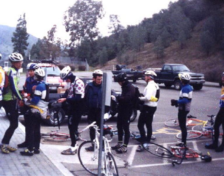 At a rest stop in the 1999 Davis 200k Brevet.