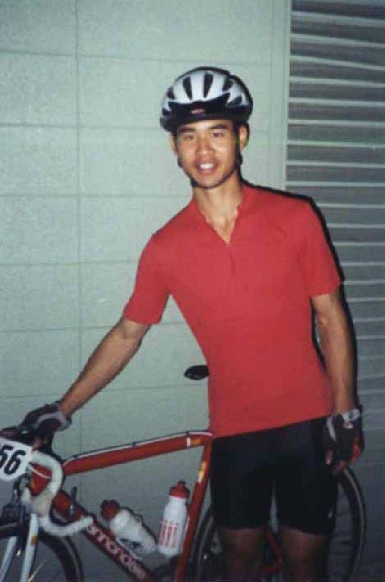 Felix Wong, red cycling jersey