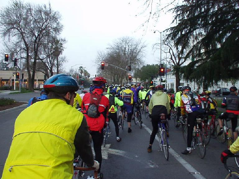 Mile 0, 7:02am: There we were, on this brisk morning, promenating out of Davis after the mass start in this 200km brevet.