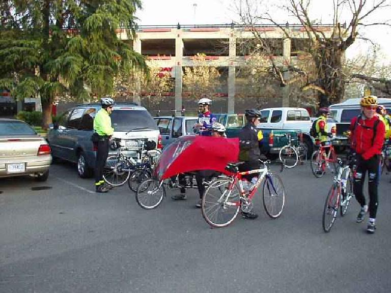Mile 0, 6:45am: Gathering for a mass start, here is part of the small recumbent contingent.