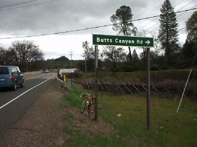 "Mile 106, 2:51 p.m.: Another sign! Butts Canyon Rd., part of what I called the ""Big Butts"" area."