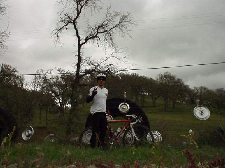 """Mile 120, 3:58 p.m.: Back at the Hubcap Ranch, Canny and I stop for a picture.  """"Let's all have peace in the world,"""" I was wishing."""