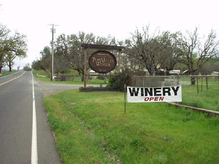 Mile 121, 4:01pm: Passing by the Pope Valley Winery, one of the several wineries we passed, including the Guenoc one.  Still 67 miles to go, with rain and darkness on the way!