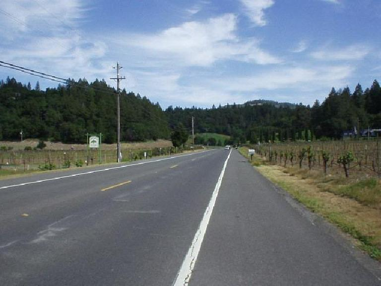 Mile 63, 10:28am: Passing through vineyards on the historic Silverado Trail, on the way to Calistoga.