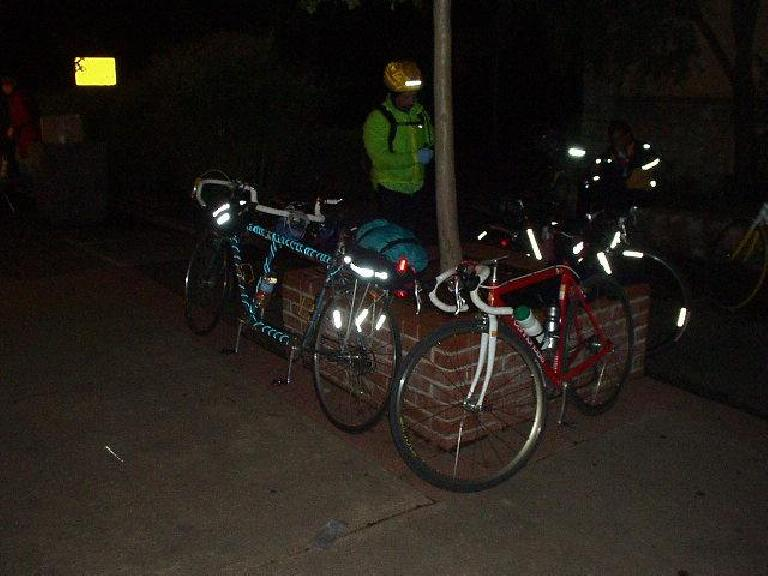 Mile 74, 10:07 p.m.: After a whopping 6 hours, I made it to the first on-the-course checkpoint in Calistoga.  Note all of our lights and reflective material, including some novel neon tubes to light up the tandem!