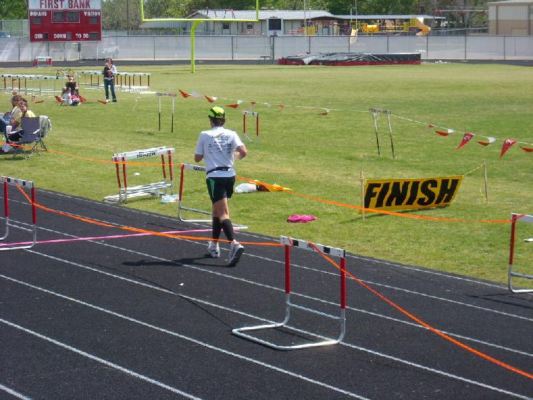 Dan about the cross the finish line.