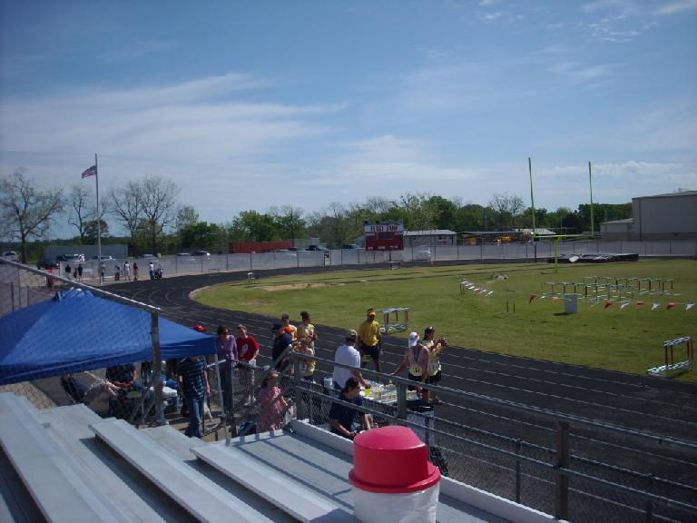 The start and finish of the Davy Crockett Bear Chase marathon was at the Groveton High School track in eastern Texas.