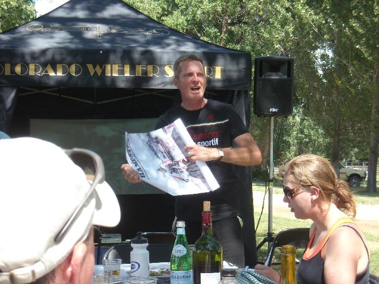 Mark giving away an autographed poster of Andy Hampsten from the 80s.