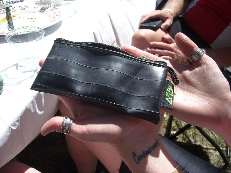 A Green Guru wallet made of recycled bicycle tubes.