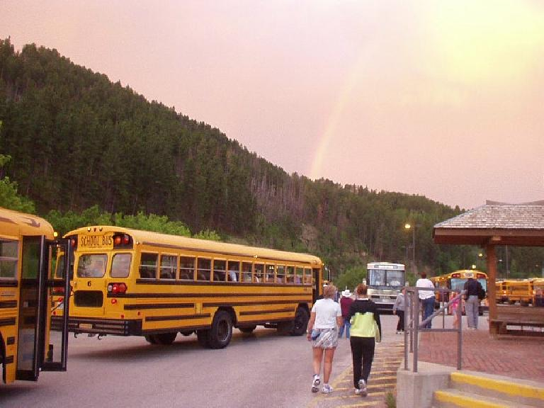 Pretty rainbow above the busses that were to take us to the start of the race in the early morning.