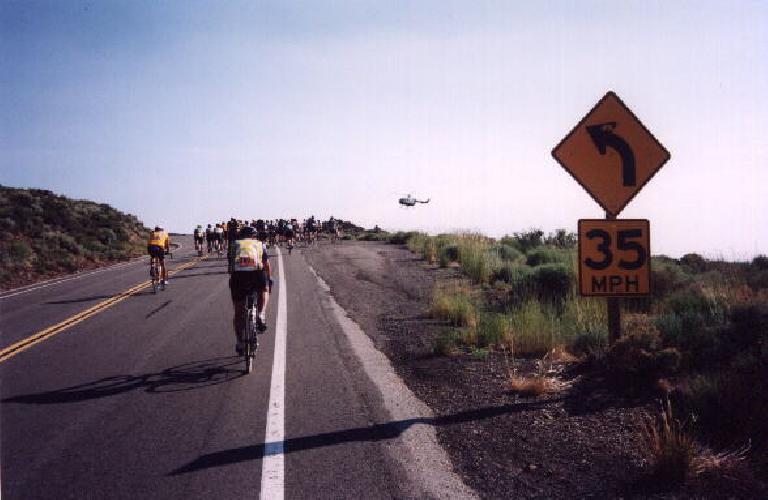 A helicopter hovering above at the site of a crash, in which the entire ride would be stopped.  Days later, the victim--Scott Lambert of Sacramento--succumbed to his injuries and was taken off of life support.  My sincerest condolences to his family.