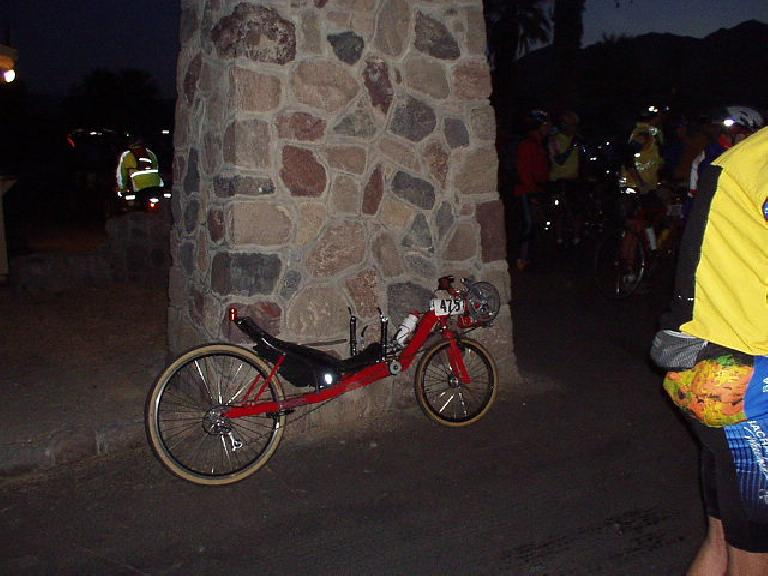 Mile 0, 5:45 a.m.: My racy recumbent patiently awaiting a 6:00 a.m. mass start of ~180 cyclists at the Furnace Creek Ranch for this 200-mile ride.