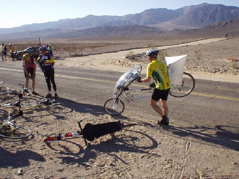 Mile 45, 8:47 a.m.: Another recumbent rider, on a faired Gold Rush, came into Checkpoint 2 shortly after I did.