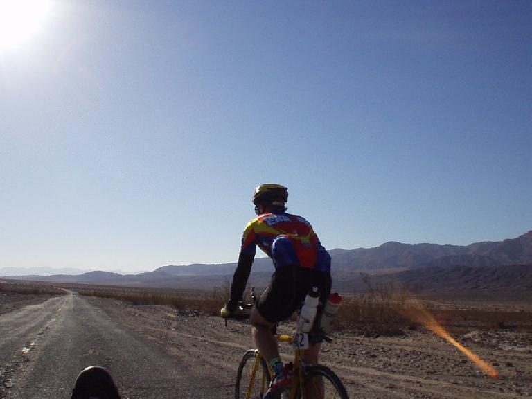Mile 46, 8:52 a.m.: Steve on his Griffin tri-bike right after the 2nd checkpoint.  Russ was there too!