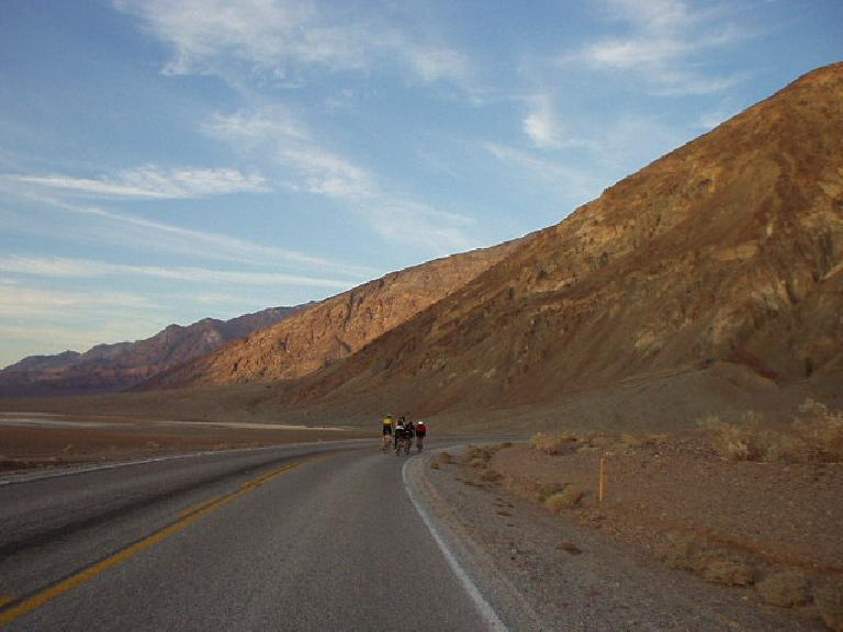 Mile 127, 4:16am: Returning to Badwater, the lowest point in the contiguous United States, not feeling very strong anymore. :/