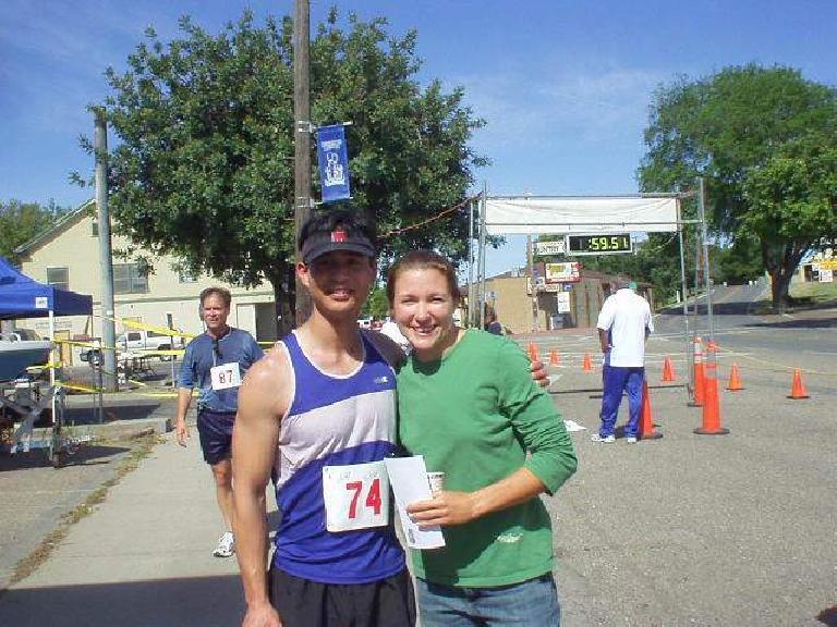 Felix Wong and Jenny Adams, an elite 100m hurdler.