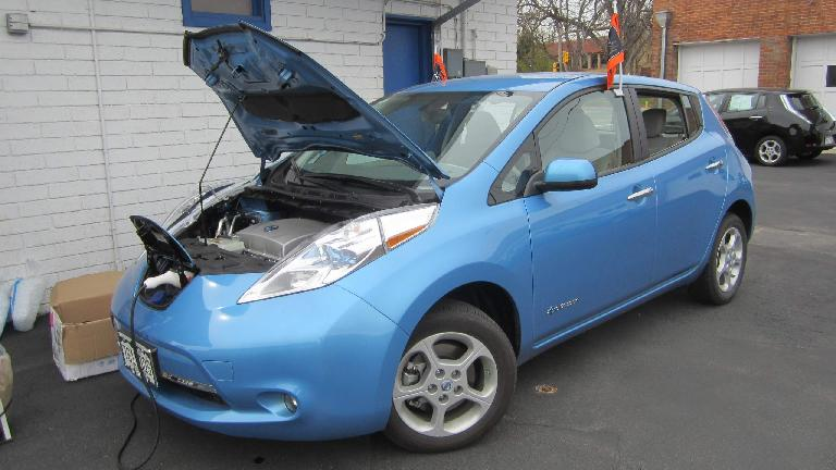 A Nissan Leaf being recharged.