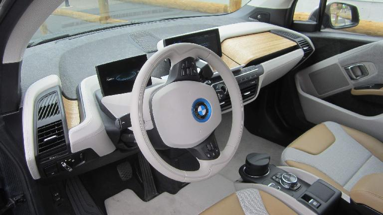 The interior of the BMW i3 used lots of recycled plastics, leather, and bamboo.