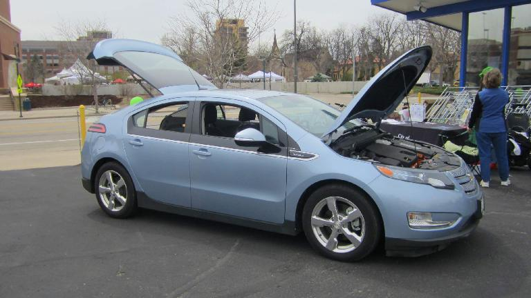 Chevy Volt in a sky blue color.