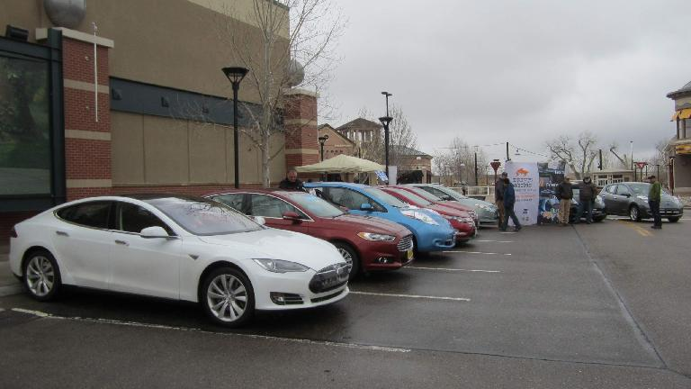 At the DENC Centerra event, we had a Tesla Model S, Ford Fusion Energi, Nissan Leafs, Chevy Volts, Ford C-Max, and a Ford Focus EV. (March 22, 2014)