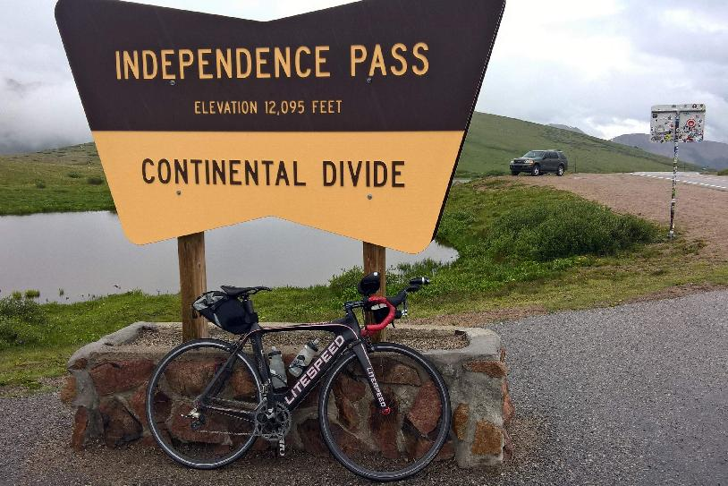 Independence Pass, elevation 12095 feet, black 2010 Litespped Archon C2
