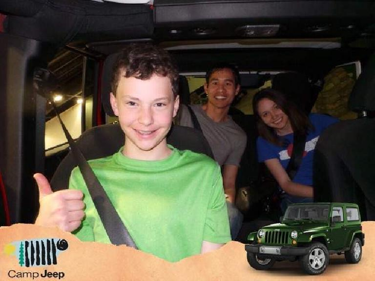 Felix Wong, Maureen Hyde, inside Jeep Wrangler