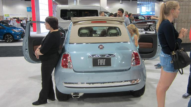 light blue Fiat 500 Cabrio
