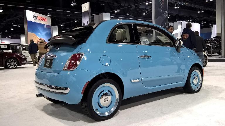 Blue 2016 Fiat 500 Cabrio.
