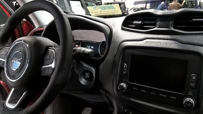 Interior of a 2016 Jeep Renegade.