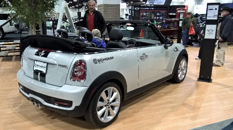 Light blue 2016 Mini Cooper convertible.