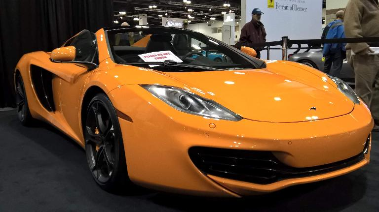 Orange McLaren MP4-12C spider, maybe a 2014 model.